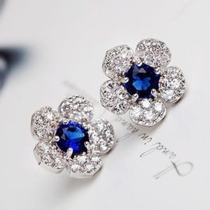 Sapphire Blue Pave Crystal Flower Stud Earrings